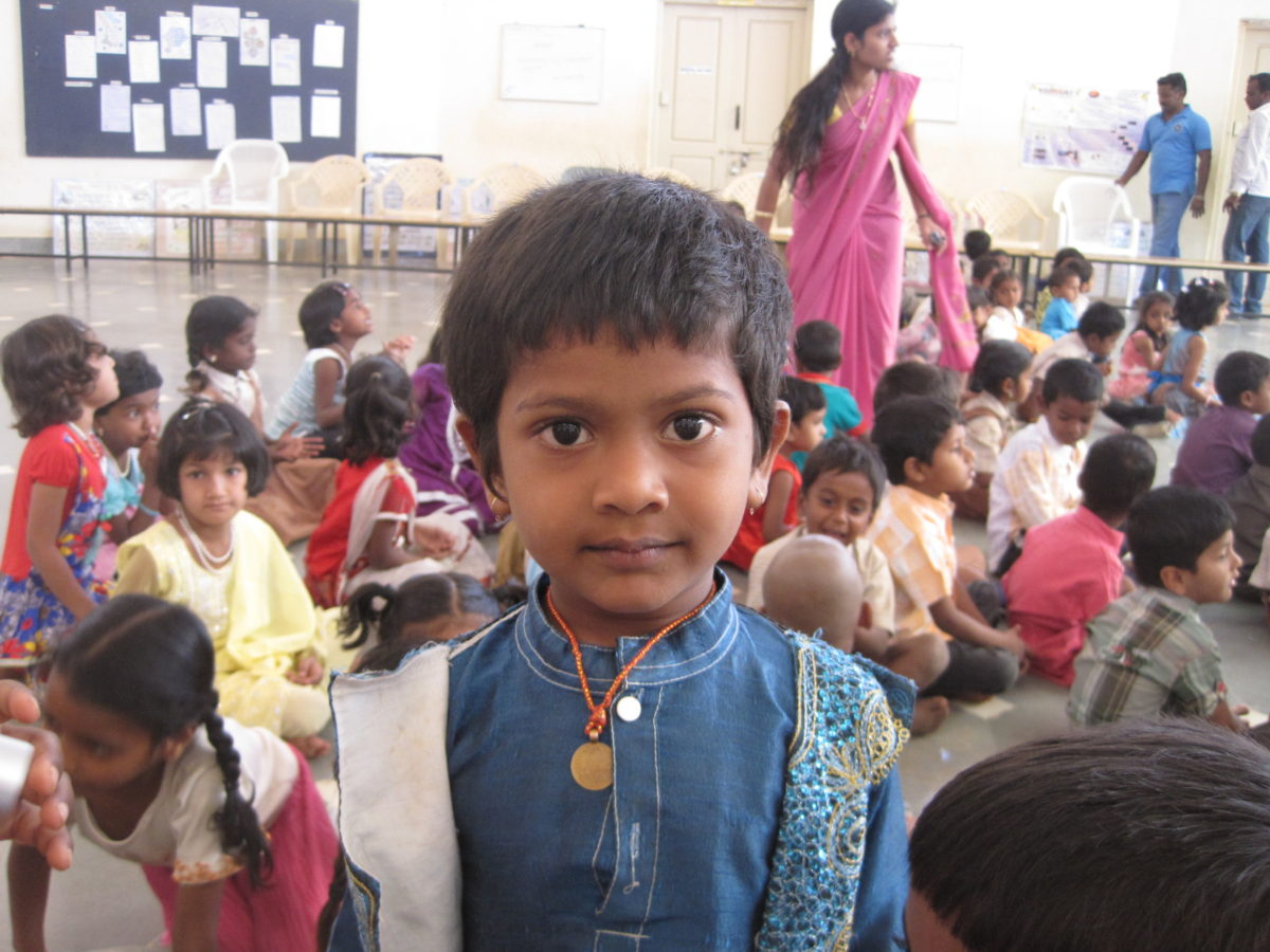 This image is picture of children in a school in South India.